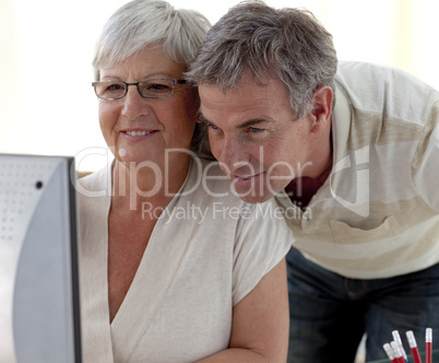 Portrait of senior couple using a computer at home