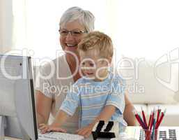 Grandson and grandmother using a computer