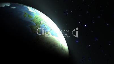Sunrise Earth in the Galaxy, loop