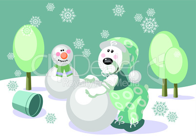 Bear make snowman color 16