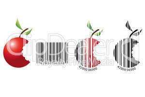 Apfel dargestellt als Barcode
