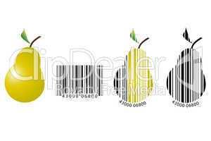 Birne dargestellt als Barcode
