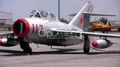 Presentation of fighters air jets - vintage Russian MIG 15-UTI and F-18.
