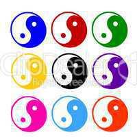 illustration eines sets von bunten ying yang symbolen