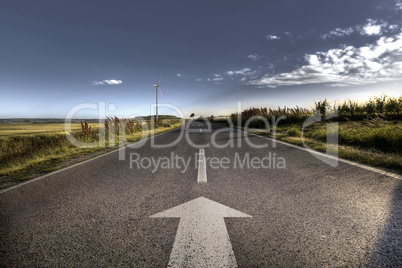 Country Asphalt road in strong flare