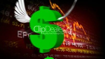 Trading board and dollar symbols