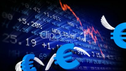 Trading board and euro symbols