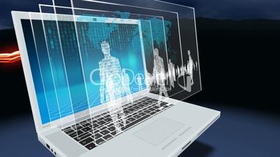 Laptop, light streaks, binary people