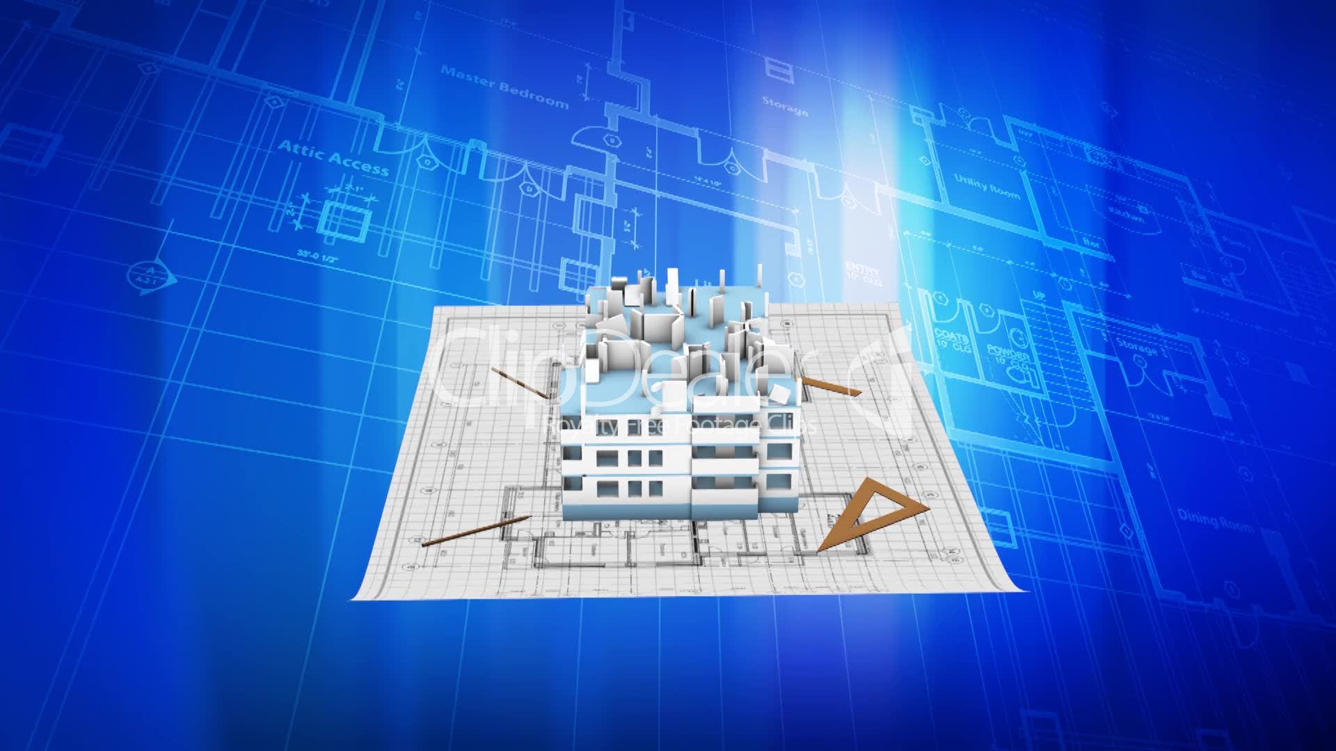 House being built on a blueprint paper royalty free video and building malvernweather Choice Image