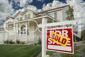 Sold Home For Sale Real Estate Sign & New House.