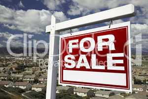 For Sale Real Estate Sign with Elevated Housing Community View