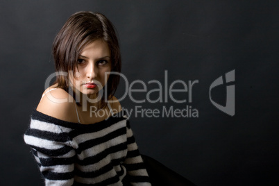 young girl over black