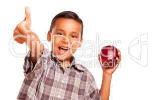 Adorable Hispanic Boy with Apple and Thumbs Up Hand Sign