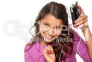 Pretty Hispanic Girl Listening and Dancing to Music