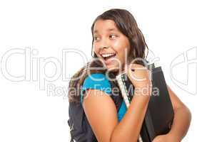 Pretty Hispanic Girl with Books and Backpack