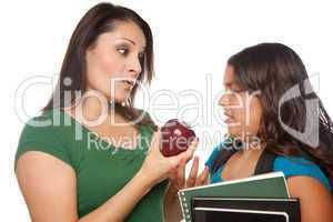 Hispanic Mother and Daughter with Books and Apple Ready for Scho