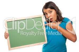 Pretty Hispanic Girl Holding Blank Chalkboard