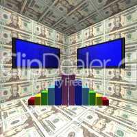 Bildschirme, Diagramm und Dollar Scheine