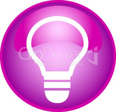 pink button mit glühbirne