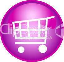 pink button mit einkaufswagen