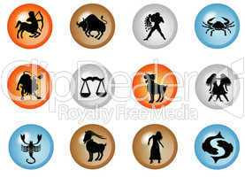 sternzeichen buttons - horoskop wasser - feuer- erde- luft