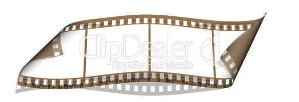 film with 4 blank images isolated on a white