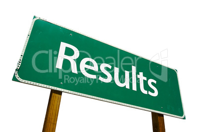Results Road Sign with Clipping Path