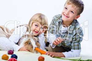 kids and eastern rabbit