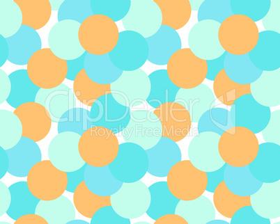 Nahtloses Muster mit Kreisen in Türkis und Orange