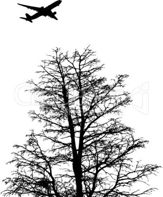 Flugzeug mit Baum als Umrisszeichnung