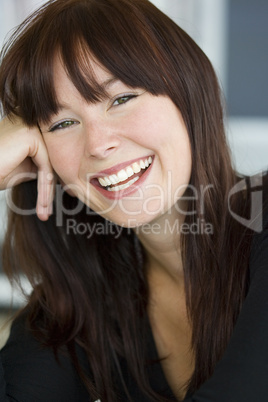 Relaxed happy smiling woman or girl