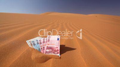 Geldscheine im Wüstensand