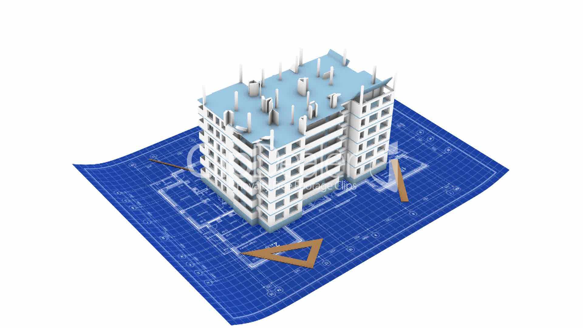 House being built on a blueprint paper vdeos de archivo y clips clips malvernweather Choice Image