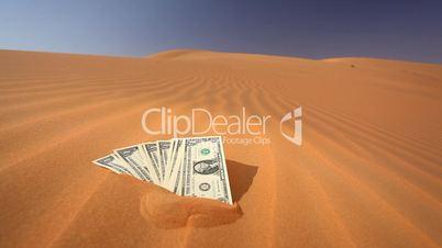Dollarscheine stecken im Wüstensand