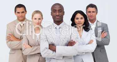 Confident Afro-American businessman leading his team