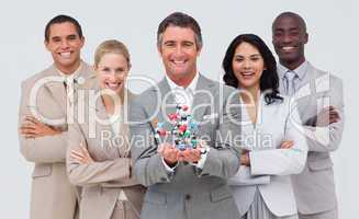 Business people holding a molecule model. Scince and business co