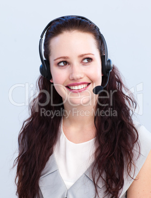 Beautiful woman working in a call center