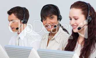 Ethnic woman working in a call center