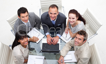 High angle of business people in a meeting