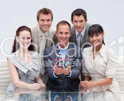 Business team holding molecules. Scientific business