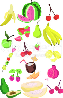 large page of fresh fruits isolated