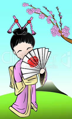 cute japanese geisha with a fan