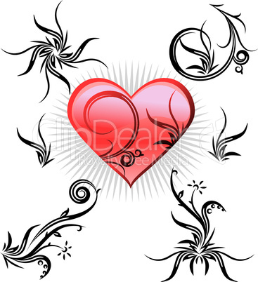 set of floral elements and heart