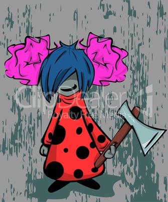 crazy emo girl with axe