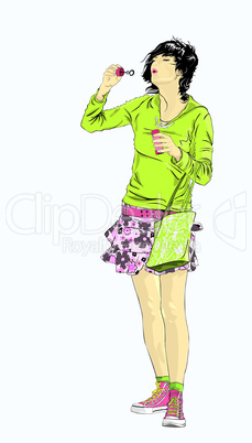 emo girl blowing bubbles, isolated