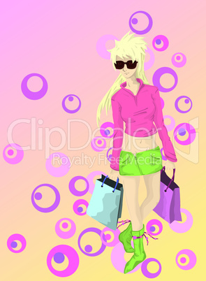 young blond girl with bags going for shopping