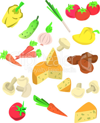 big collection of vegetables isolated