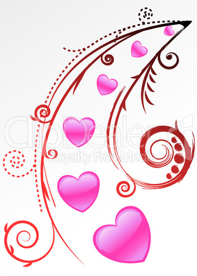 romantic design with pink hearts and floral elements