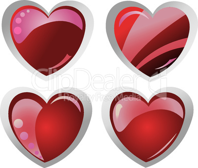 four glossy valentine's hearts