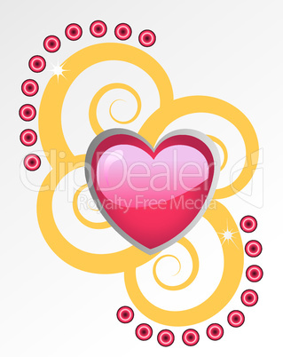 pink heart with gold shining swirls on background
